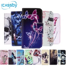 I5/5S Phone Etui For Coque Apple iPhone 5S Case Skull Cat Leather Wallet Flip Cover For iPhone 5 SE 5SE Dual Sim Housing Capinha