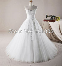 LE BA X BEAR Free Shipping Custom-made Romantic Style Ball Gown Chapel Train Wedding Dresses Wholesale/Retail