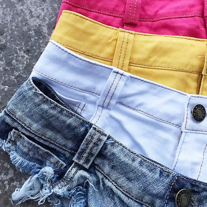New 17 Summer Women Sexy Jeans Shorts Feminino Candy Color Fashion Hot Denim Shorts Beach Ladies Party Low Waist Mini Shorts 28