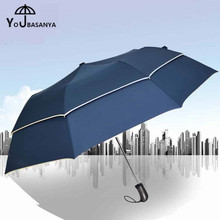 Creative Big Double Layer Umbrella Automatic Paraguas Rain Men Business Quality Folding Windproof Style Outdoor large Umbrellas(China)