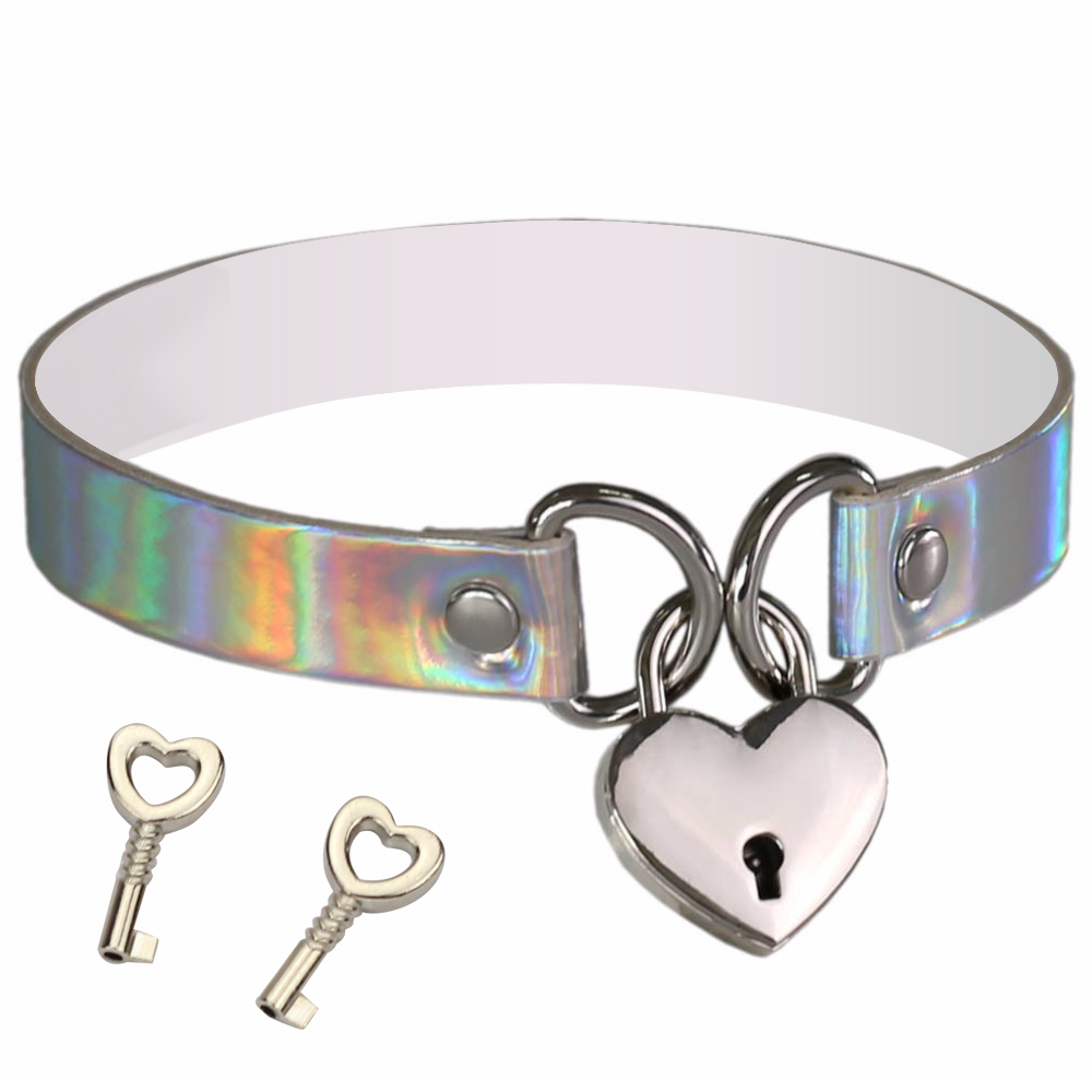 Holographic Choker Love Heart Laser Collar Punk Necklace with 4 Rivet Buckles