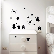 15pcs mixed Nursery Star Wars wall stickers,Death Star Darth Vader Robot YODA mural decal for Kids room decor,free ship(China)