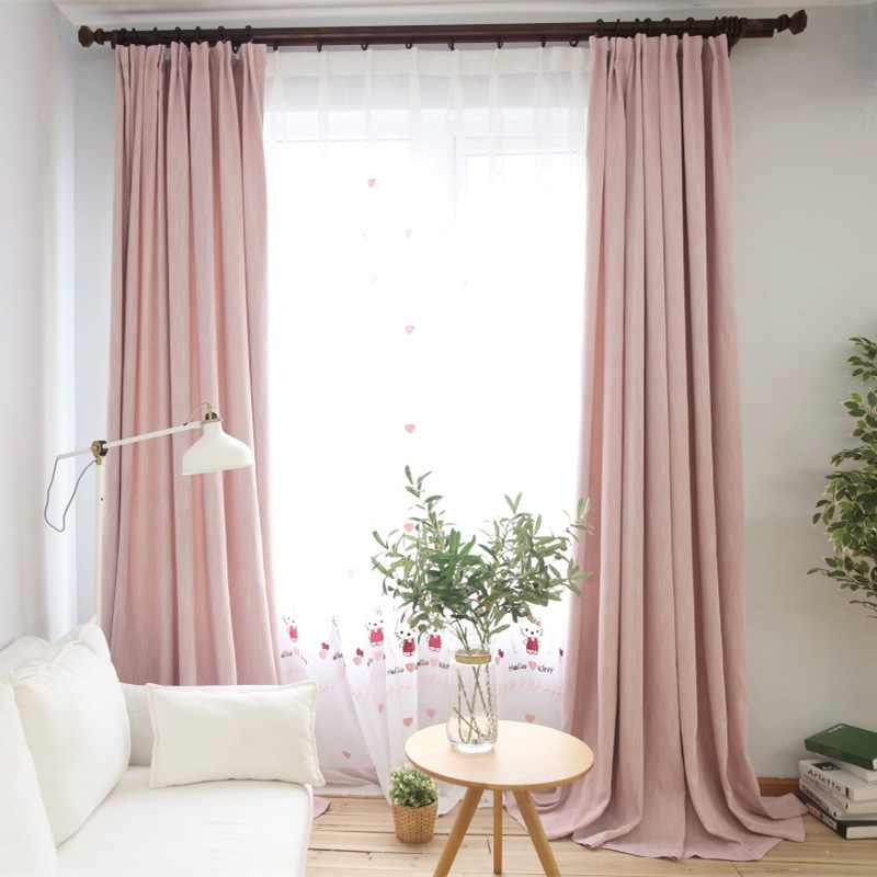 simple style pink linen cloth room decor curtains window drapes for window curtain living room purple sheer curtains 200&30