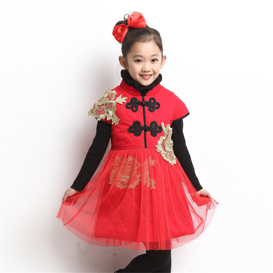 Girls Tutu Dresses Chinese Red Lace Cheongsam Kids Clothes Princess Dress Girl Children Costume Traditional Girl Dress 70C1011<br>