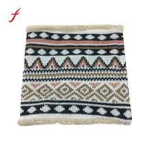 Feitong Quality scarves for women men winter warm infinity cable plaid stole knitted neck cowl collar velvet scarf shawl poncho(China)