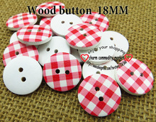red stripe (60pcs/lot) wooden buttons for baby hat 18MM 1-742-MCB(China)