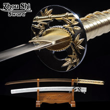 Samurai Katana Sword 1060 carbon steel Unique Technology Roasted gold steel Hand-forged Samurai Sword Sharp Home metal crafts(China)