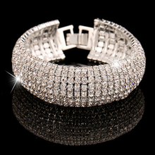 Fashion Charm Women Full Crystal Rhinestone Cuff Bracelet Bangle Bling Wristband Women Wedding Bridal Bracelet Jewelry Gift(China)