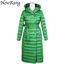 Winter Women Goose Down Jacket  X-Long Thick Long Sleeve Hooded Brief Coat  Plus Size Four Colors