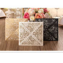 Design Rustic Gold beige Wedding Invitations Laser Cut Invitation Cards With Insert Paper Blank Card Envelope 12pcs
