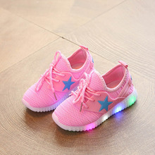 kids Five-pointed sneakers  with led light spring summer boys sport running shoes girls  net breathable  casual Shoes size 21-35