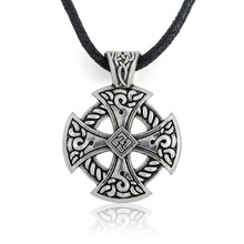 My Shape Cross Viking Shield Pendant Necklace Jewelry Tibetan Silver Solar Cross Knot Religious Christian Irish Druid Leather(China)