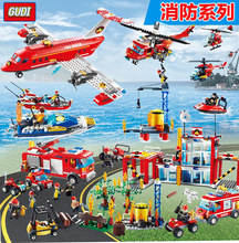 Building Blocks Compatible with Fire Station Truck Learning School Education Toys Christmas Gift