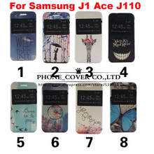 New Painted patterns flip leather Case cover for Samsung Galaxy J1 Ace J110 phone bags skin cases for samsung J1 ace case
