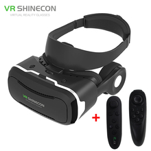 VR Shinecon 4.0 Virtual Reality 3D Movie Glasses Helmet BOX with Headphones for 4 -5.5 inch Smartphone+Game Controller