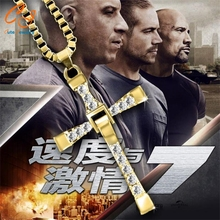 Freeshipping Fast and Furious Seven gold color Dominic Hot Selling Dominic Toretto Cross Men's Necklace Pendant wholesale 2016(China)