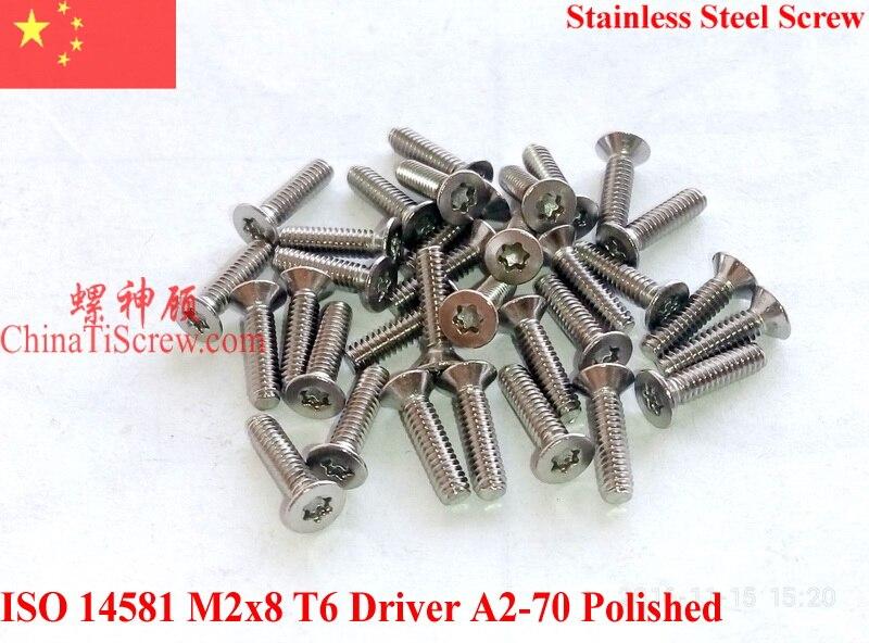 Stainless Steel Screws M2x8  ISO 14581 Flat Head Torx T6 Drive A2-70 Polished<br><br>Aliexpress