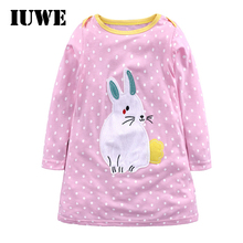 New Year Birthday Pink Baby Girl Dresses Kids Party O-neck Rabbit Princess Summer Children Fancy Clothing for Teens 2 6 Clothes(China)