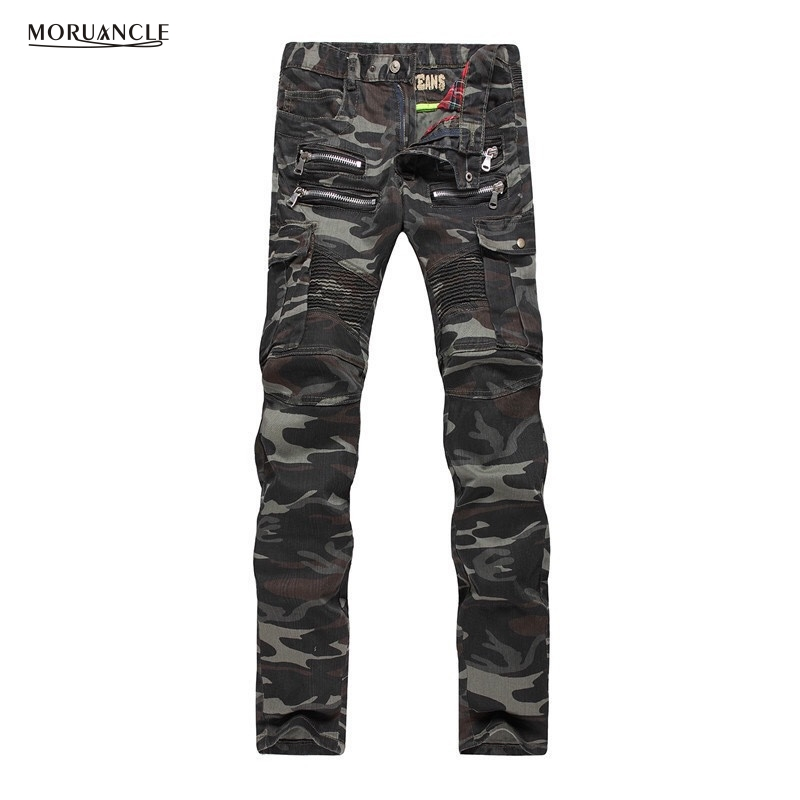 New Mens Camouflage Jeans Motocycle Camo Military Slim Fit Famous Designer Biker Jeans With Multi Zippers Men E0014Одежда и ак�е��уары<br><br><br>Aliexpress