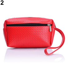 Women's Multifunctional Double-Zips Key Bag Faux Leather Purse Handbag Wallet Daily Use