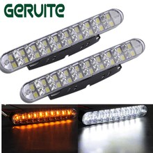 2pcs 30 LED Car White DRL Amber Turn Signal Daytime Running Light Daylight for Auto Car SUV Off-Road Pickup Truck IP65