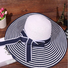 New 2017 Fashion Packable Sun Paper Straw Hat for Women Summer Beach Cap Striped Bow Ribbon Hats Ladies Summer Floppy Hat