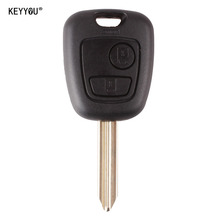 KEYYOU 2 Button Remote Key Flip Fob Car Key Case for Citroen C1 C2 C3 Saxo /Xsara /Picasso /Berlingo Uncut Blade Car Key Shell