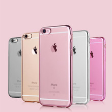 high quality Ultra Thin Clear Crystal Rubber Plating Electroplating TPU Soft Mobile Phone Case For iPhone 6 6s 7 Plus Cover