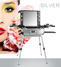 Silver 3 types Professional Rolling Studio Makeup Case Artist PVC Cosmetic Box w/ Light Mirror Train BAG 2016 New Arrival