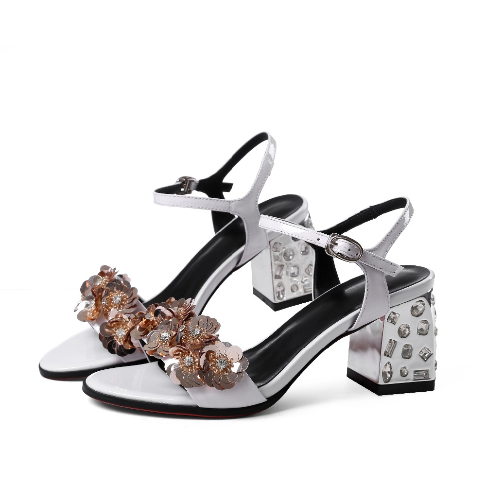 2017 Krazing Pot women brand shoes buckle straps peep toe Luxury flowers sandals runway superstar diamond high heels pumps 28<br><br>Aliexpress