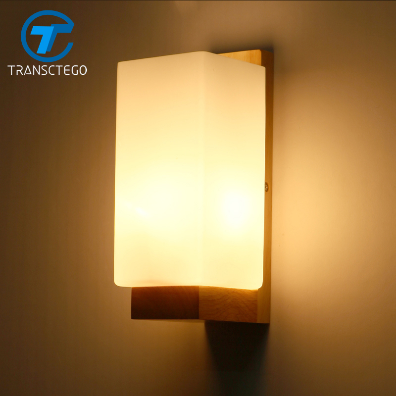 Bedroom Bedside Lamp LED Solid Wood Wall Lamp Corridor Light Simple Style<br>