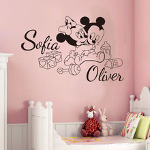 reative cute Mickey Mouse Minnie Custom two Kids Name baby wall stickers for kids rooms home decoration wall stickers