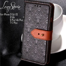 [Long Steven]For iPhone 7 \ 7 Plus Case Retro Adjusting Leather Buckle Wallet Cover For iPhone 5 5s SE 6 6s Plus 6 s Plus Case(China)