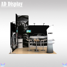 3m*3m Trade Show Booth Size Advertising Portable Tension Fabric Banner Display Wall With Oval Table And Tower(no TV accessory)