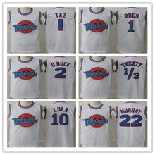 Space Jam Tune Squad Movie Daffy Duck ! TAZ Bugs Bunny Tweety Bird Lola Bunny Bill Murray White Blue Basketball Jersey