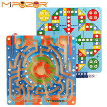 MIPOZOR 2in1 Magnetic Puzzles Pen Maze + Flying Chess Animal Multifunctional Labyrinth Puzzle Educational Toys For Kids
