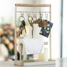 DUNXDECO Creative Iron Home Office Storage Table Key Paper Rings Organize Decoration Gift