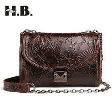 HIBO Female's Genuine Leather Headband Oil Wax Skin Fashion Women Handbags Retro Shoulder Bags Messenger Bag(China)