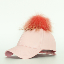 Hot Sale Women's Winter Hat PU Leather Pom Pom Cap Leather Hat With Fur Ball Female Candy Color Visor Fitted Lady Female
