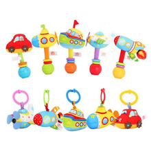 Sozzy Plush Infant Baby Handbells Rattles Handle Pull Shock Toys Car Rocket boat Plane Submarine Baby Bed Stroller Hanging(China)