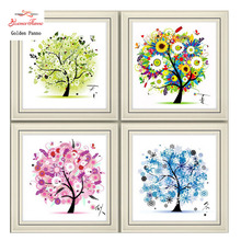 Golden panno,Needlework,DIY DMC Cross stitch,Sets For Embroidery kit,four season tree cotton thread home Counted Cross-Stitching(China)