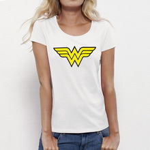 USAprint Wonder Women Logo T Shirts Print Comic Girls Tee Shirts Female Cotton Top Slim Fit Crew Neck Short Sleeve Summer Basic