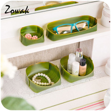 Banana Leaf Design Home Storage Trays Cosmetic Desk Pen Box Kitchen Office Bathroom Makeup Organizer Container Pencil Cabinet