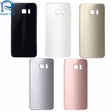 New Back Glass Cover for Samsung Galaxy S7 G930 S7 Edge G935 Rear Battery Door Cover Housing Replacement Rose Gold Black Silver