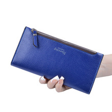 Women Ultra Thin Bifold  Long Wallets PU Leather Clutch For Woman Litchi Pattern Ladies Hasp Card Holder Purse