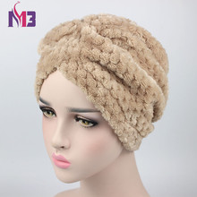Winter New Luxury Women Wool Plush Turban Warmer Turban Headband Hat Muslim Hijab Turbante for Women(China)