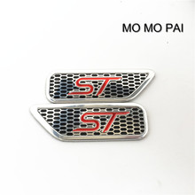 MO MO PAI 2Pcs For Ford ST Metal Vip Car Front Side Fender Silvery 3D Badge Emblems styling stickers