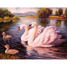 NEW 100% Full Square Drill Diamond Embroidery Swans Family Look Picture 3D Diamond Painting cross-stitch Mosaic kits Wall Decora