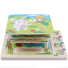 Wooden Animals Scene Multilayer 3D Stories Jigsaw Puzzles Baby Educational Childhood Intelligence Games Kids Toys for Children(China)