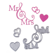 New Embossing Steel Mr Mrs Love Heart Cutting Dies Stencils DIY Scrapbooking Card Album Photo Painting Template Metal Craft(China)